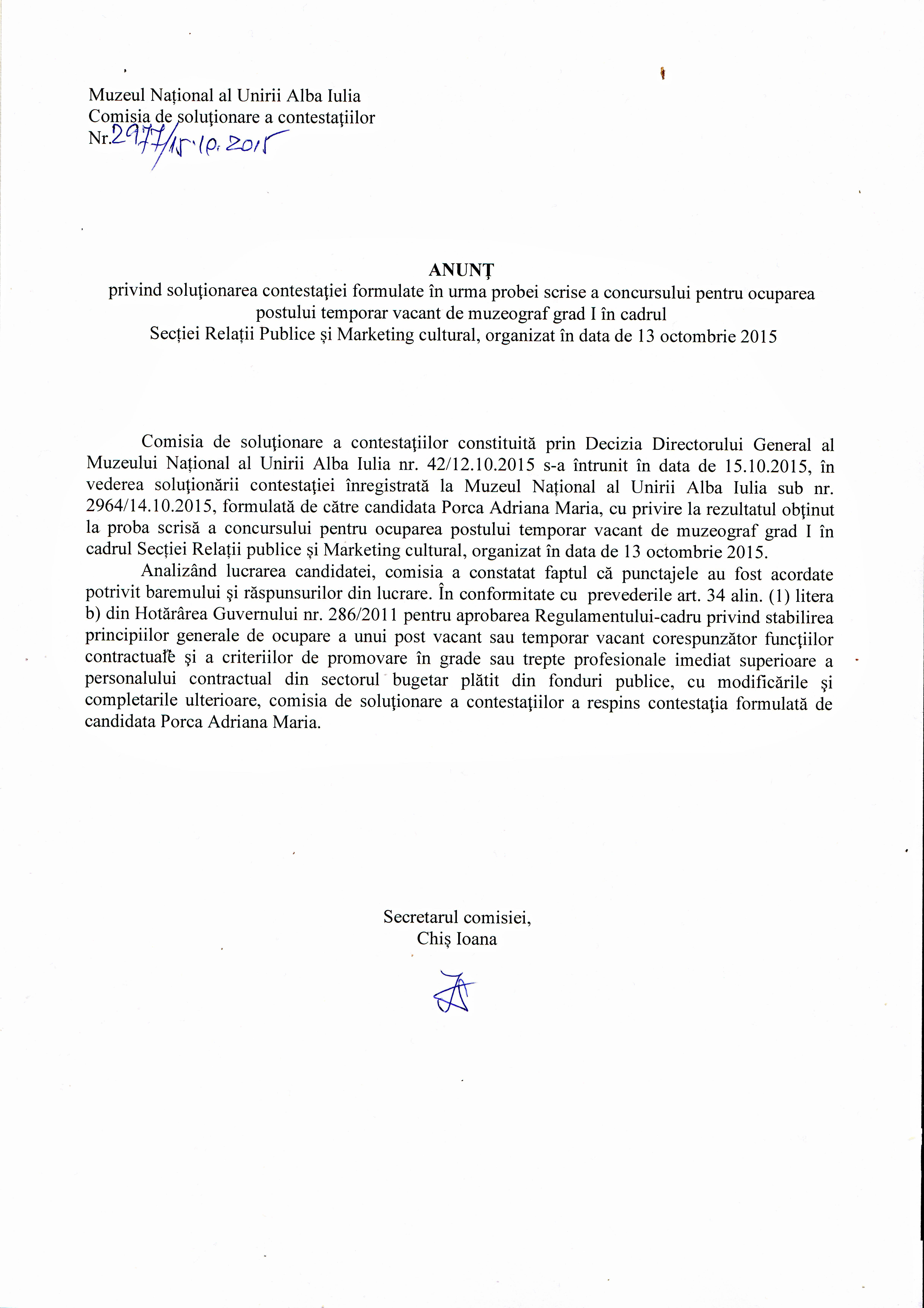 15 octombrie 2015 solutionarea contestatiei