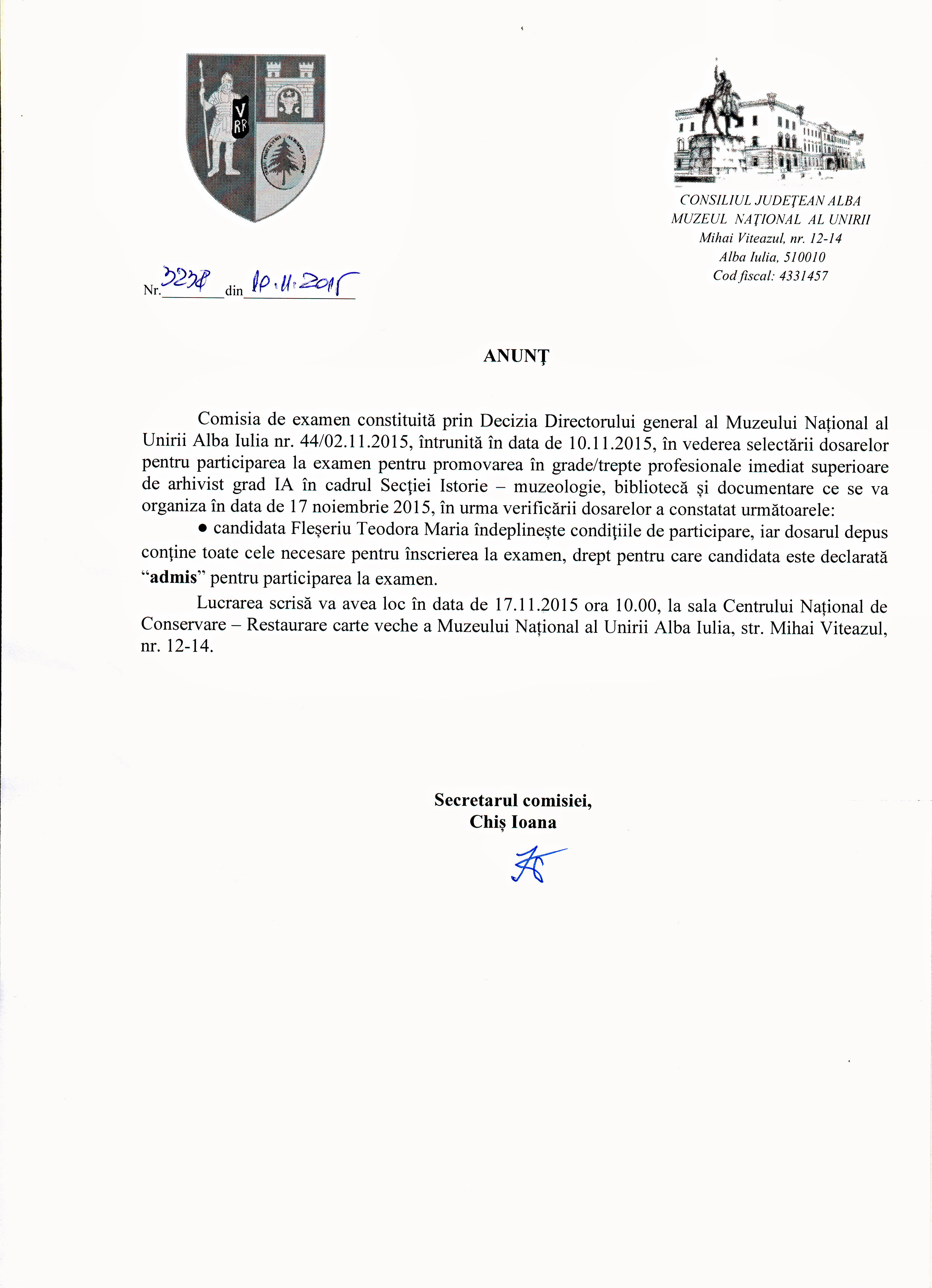 secretariat 10 nov 2015 anunt arhivist iA